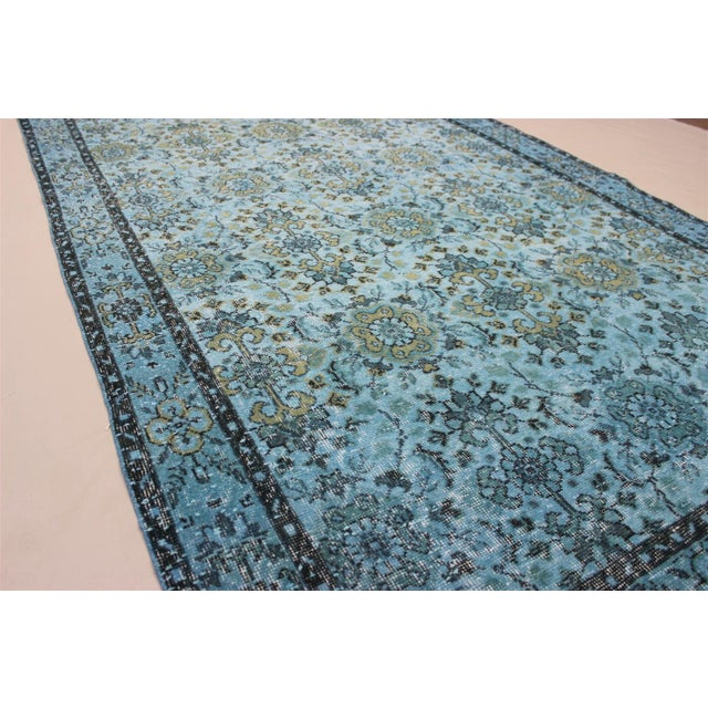 Turquoise Over-Dyed Rug - 5′5″ × 9'8″ For Sale - Image 4 of 10