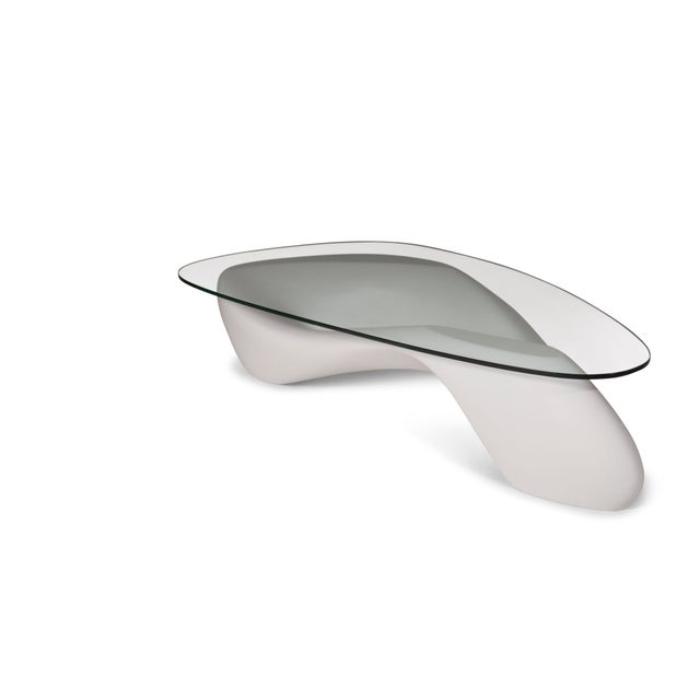 Amorph Amorph White Lust Coffee Table With Organic Shape Glass Top For Sale - Image 4 of 10