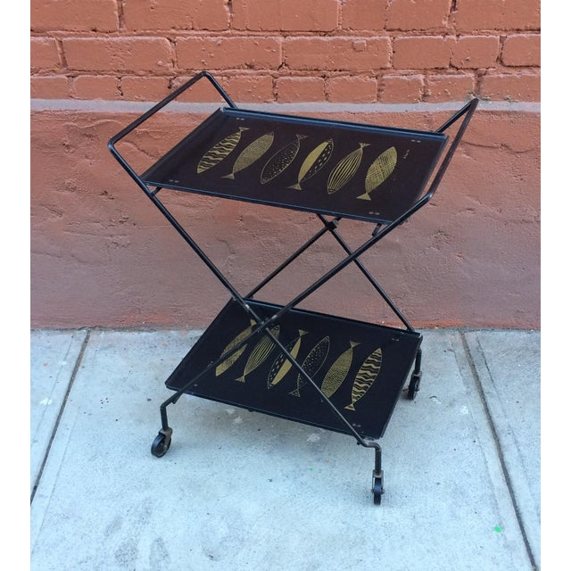 Fred Press Folding Bar Cart with Fish - Image 2 of 8