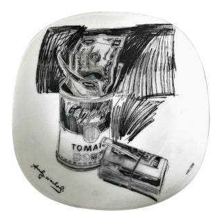 Andy Warhol Campbell's Soup Can & Dollar Bills Plate For Sale