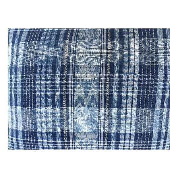 Indigo Blue & White Ikat Pillows - a Pair For Sale - Image 5 of 6