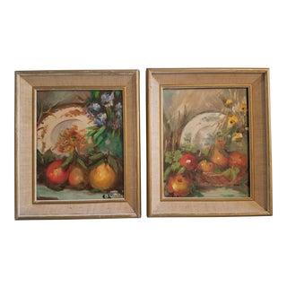 1970s CottageStill Life Tablescape Paintings by Vidi - a Pair For Sale