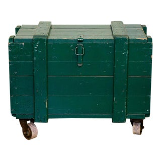 Vintage Green Wooden Trunks on Caster Wheels With Rope Handles For Sale