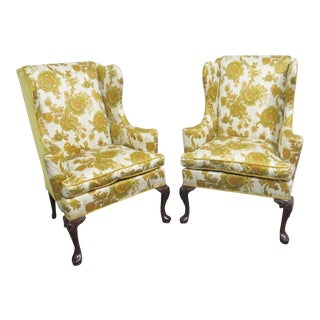 Hickory Chair Co. Queen Anne Style Wing Chairs- a Pair For Sale