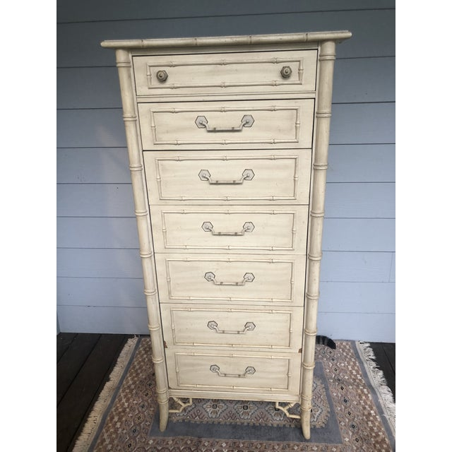 Faux Bamboo Vintage Faux Bamboo Thomasville Allegro Lingerie Chest For Sale - Image 7 of 8
