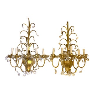 Mid-Century Florentia Italian Brass Crystal Tole Electric Wall Candelabra - a Pair For Sale
