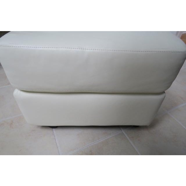 Animal Skin Art Deco White Leather Chair & Ottoman - 2 Pieces For Sale - Image 7 of 10