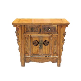 Chinese Vintage 2 Drawers Carving Brown Side Table Cabinet