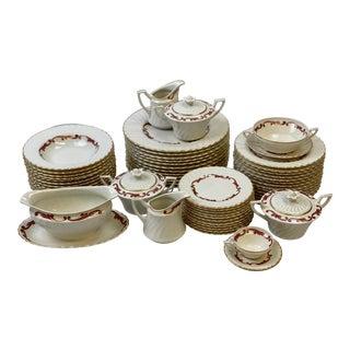 Vintage Syracuse Baroque Maroon Dinnerware & Serveware - Set of 58 For Sale