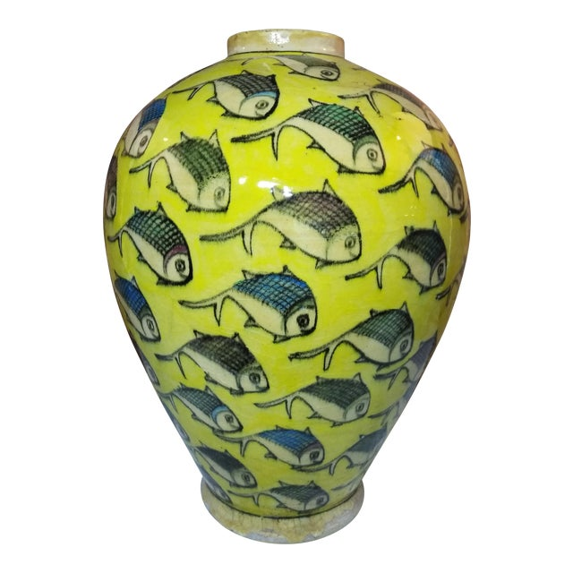 1960s Contemporary Persian Yellow Ceramic Fish Vase For Sale