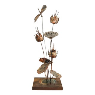 Vintage Brutalist Torch Art Copper Metal Sculpture of Lotuses and a Dragonfly For Sale