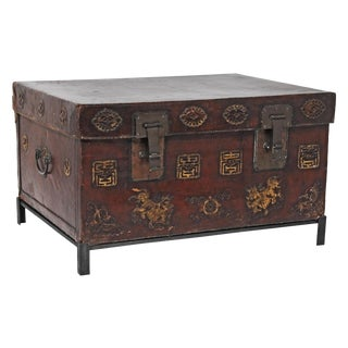 Asian Leather Trunk on Stand