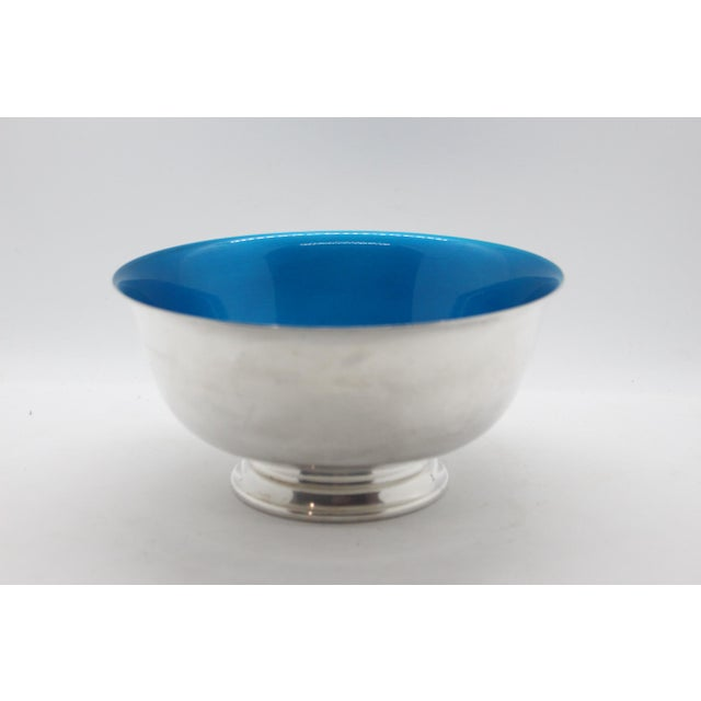 Metal 1960's Reed & Barton Silver Plated Candy Dish With Peacock Blue Enamel For Sale - Image 7 of 7
