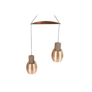 Danish Modern Copper + Rosewood Double Pendant For Sale