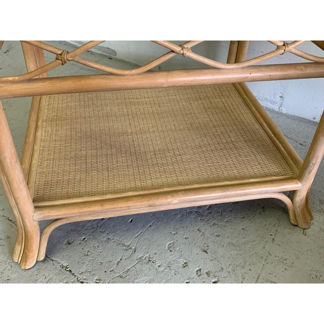 Rattan and Glass End Tables, a Pair For Sale - Image 4 of 7