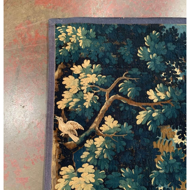 Mid-18th Century French Verdure Aubusson Tapestry With Trees and Foliage For Sale - Image 10 of 13