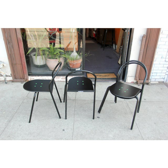 1980s Modern Black Metal Side Chairs - Set of 4 For Sale - Image 11 of 12