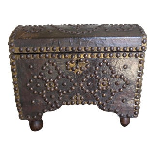 19th C. Spanish Leather Studded Box For Sale