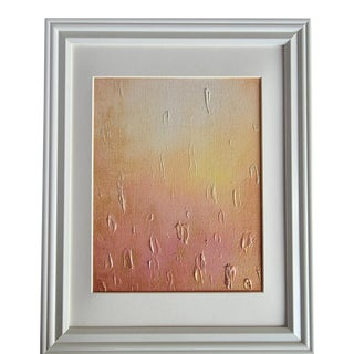 """""""Rosegold Rain"""" Contemporary Abstract Acrylic Painting, Framed For Sale"""