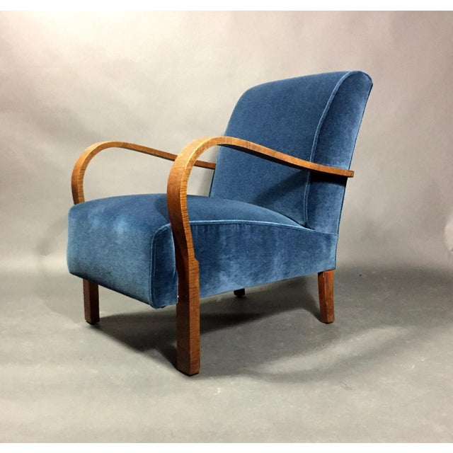 Late 1930s Danish Oak Armchair, New Mohair Upholstery For Sale - Image 10 of 10