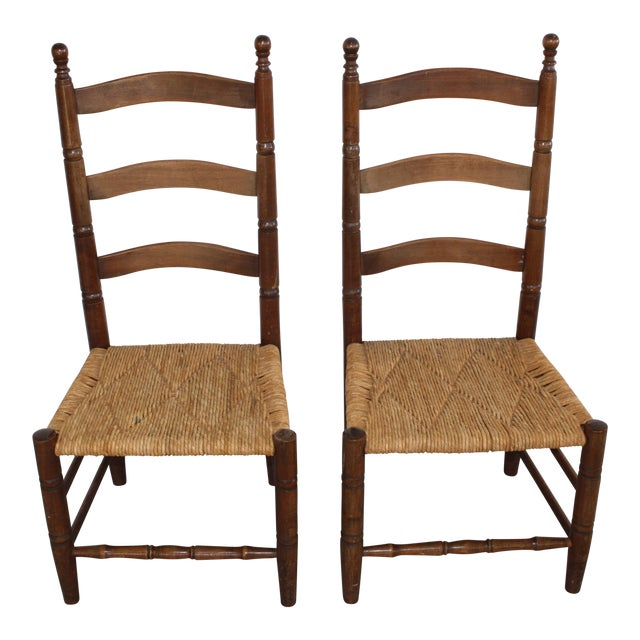 Antique Rush Seat Chairs - A Pair - Image 1 of 11