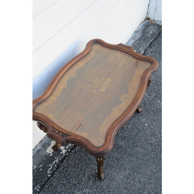 Early 1900s Hand Carved Violin Inlay Coffee Table With Serving Glass Tray For Sale - Image 9 of 12