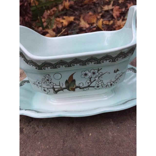 Gravy Celadon Floral Boat For Sale - Image 5 of 7