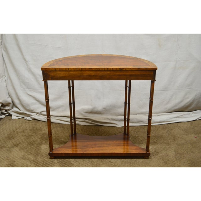 Brown Baker Vintage Burl Wood & Walnut Demilune Console Table For Sale - Image 8 of 13