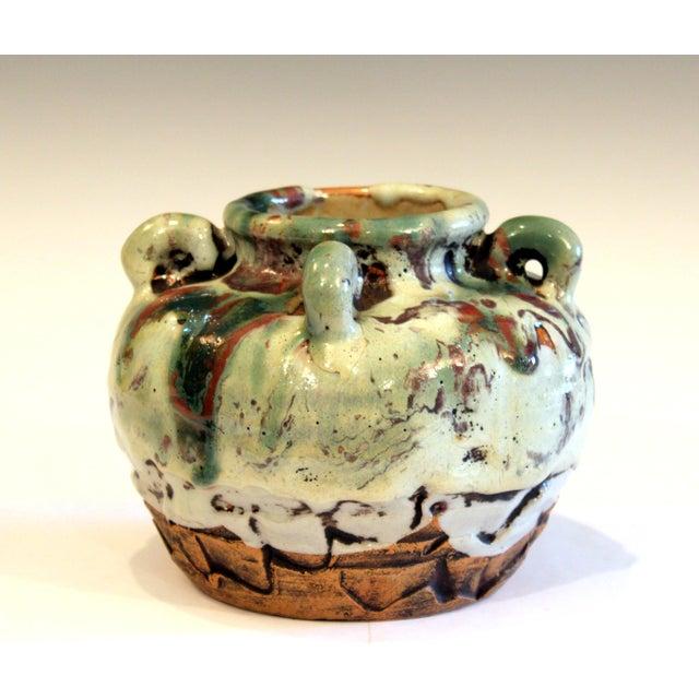 Awaji Pottery Manipulated Jar Gloppy Drip Glaze Zen Tea Ceremony Vase For Sale - Image 4 of 12