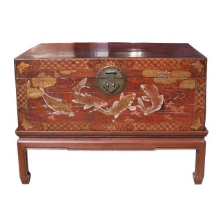 1900s Vintage Chinese Decorated Leather Chest on Stand For Sale