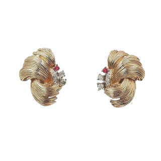 "1960s Boucher Rhinestone ""Feather"" Earrings For Sale"