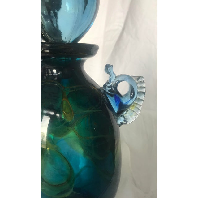 Vintage Handblown Glass Decanter in Blue and Emerald With Spherical Top - Image 7 of 11