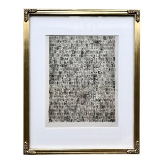 1960s Abstract Alphabetical Print in Gold Frame For Sale