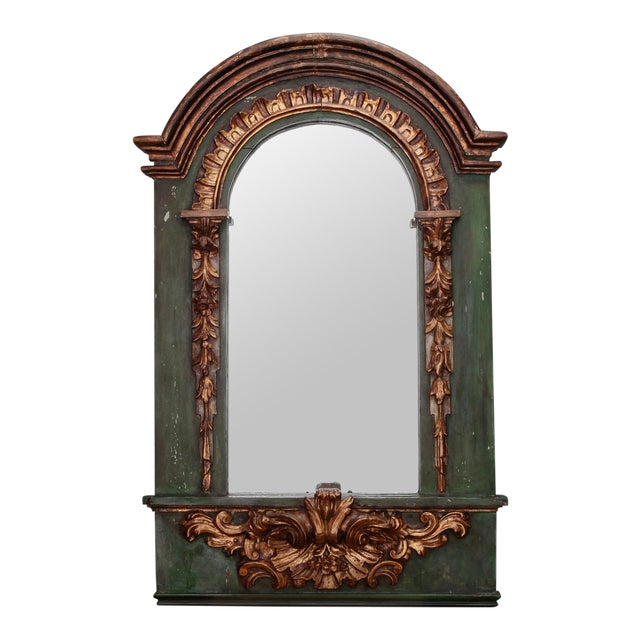 19th Century French Painted Mirror With Carved and Gilded Detailing For Sale