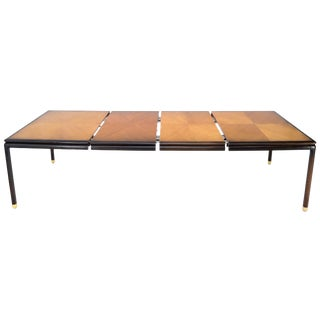 Danish Mid-Century Modern Large Two-Tone Dining Room Table with 2 Leaves For Sale