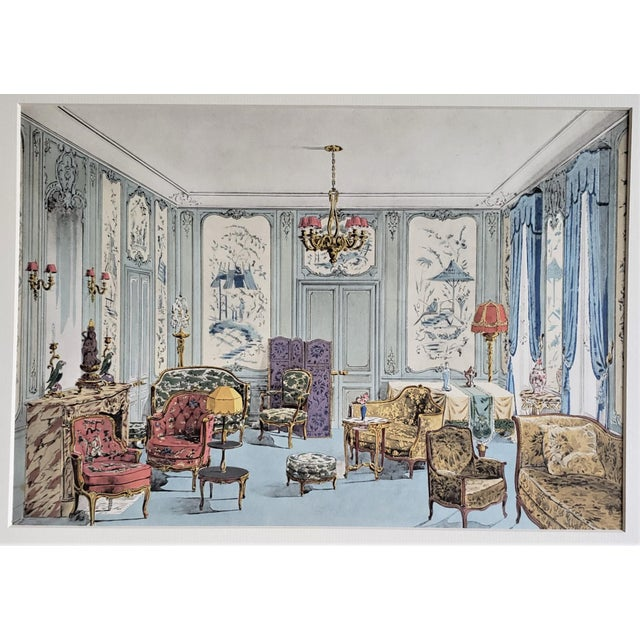 1920s Matted 1925 French Interior Furniture Lithograph For Sale - Image 5 of 5