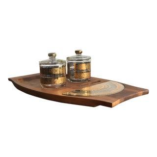 1970s Culver Gold Glass Lidded Jars and Walnut Preparation Platter - Set of 3 For Sale