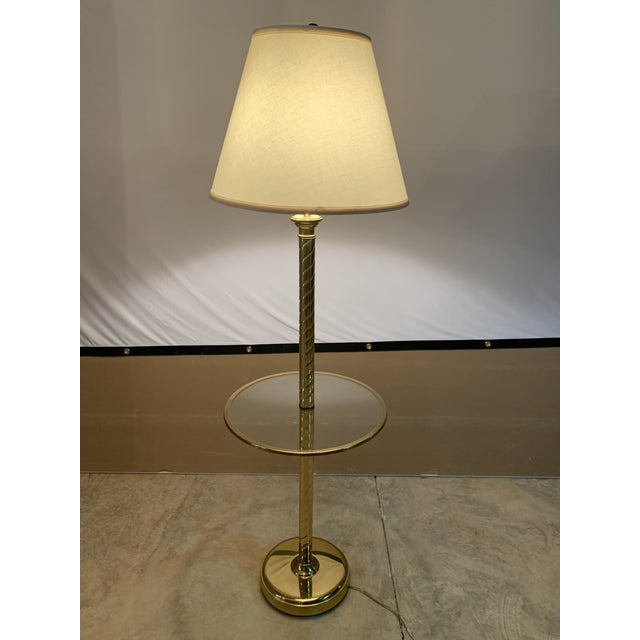 Vintage Hollywood Regency Twisted Brass and Glass Floor Lamp and Table With White Linen Shade For Sale In Lexington, KY - Image 6 of 11
