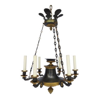 Antique French Empire Bronze 6-Light Chandelier Regency Colza Style For Sale