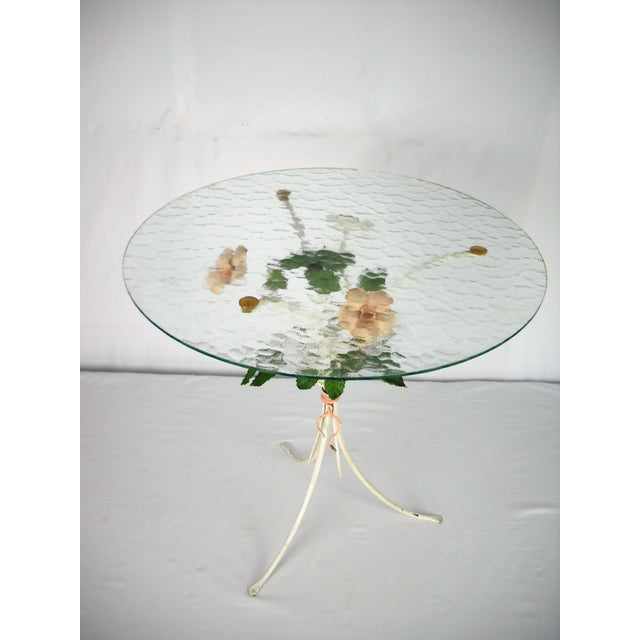 Green Italian Floral Tole Side Table For Sale - Image 8 of 8