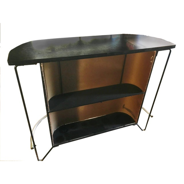 1950's Frederick Weinberg wrought iron bar with 2 vinyl covered wrought iron stools... Philadelphia based artist and...