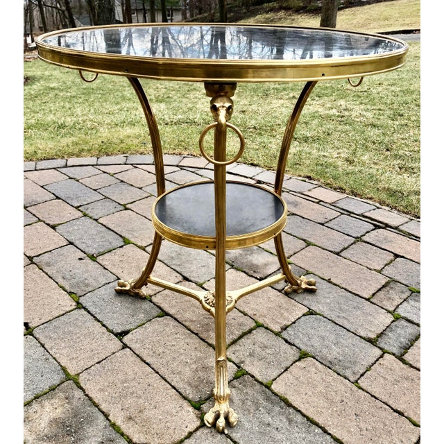 Bronze Louis XVI Style Bronze 2 Tier Marble Top Gueridon Table For Sale - Image 8 of 8
