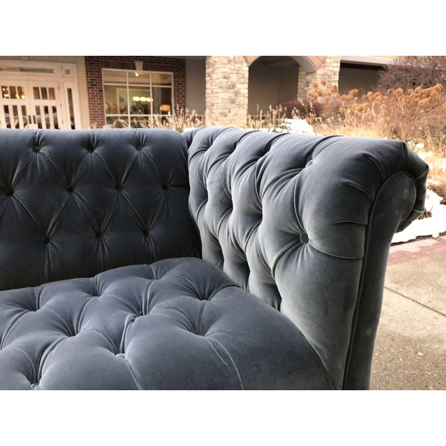 Beautiful Designers Guild Velvet in a Granite Grey color. F1190-15 Completely covering these Chesterfield sofas. These are...