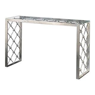 Italian Modern Industrial Design Criss Cross Fretwork Iron Console / Hall Table For Sale