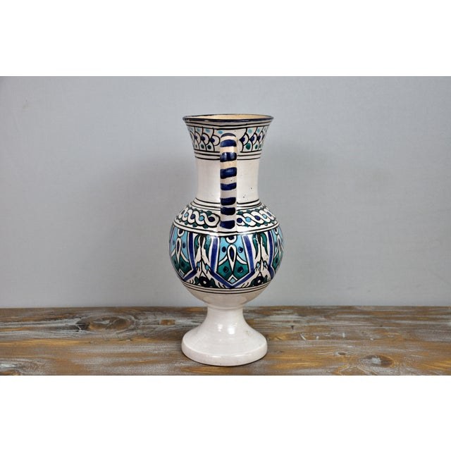 Italian Handpainted Vintage Italian Blue and White Decorative Vase For Sale - Image 3 of 13
