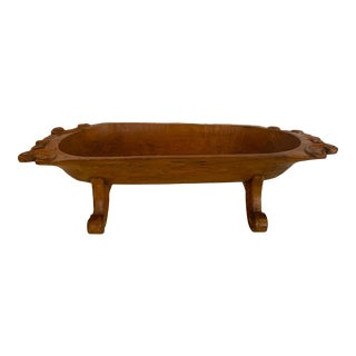 Antique Hand Carved French Dough Bowl Centerpiece For Sale