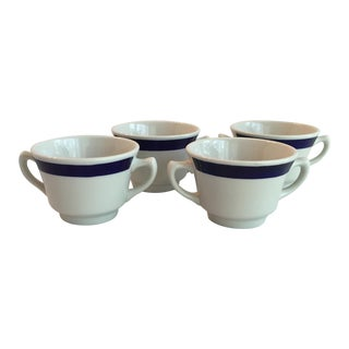White & Blue Bouillon Soup Bowls - Set of 4 For Sale