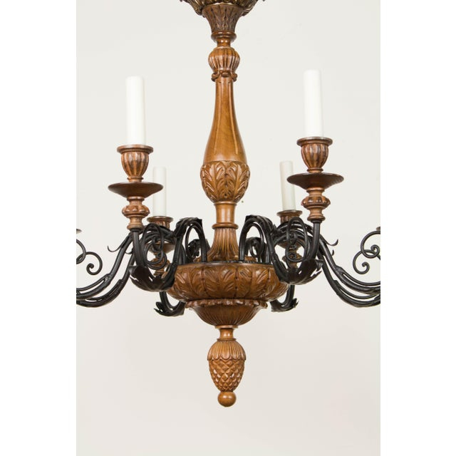Brown Iron & Wood Eight Arm Chandelier For Sale - Image 8 of 9