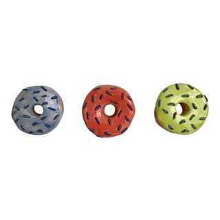 Modern Ceramic Sprinkled Donuts Wall Decor- Set of 3 For Sale