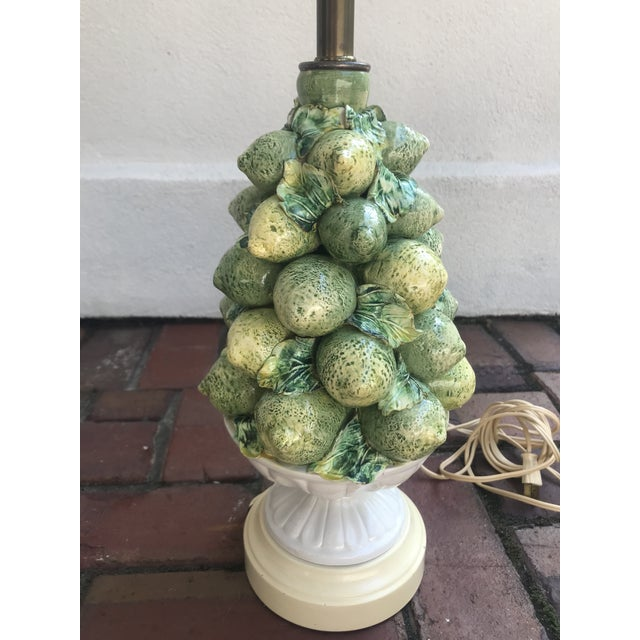 Vintage ceramic topiary lamp with lemons and limes mounted on a metal base. Made by Wilmar co. Lemons, limes and leaves...